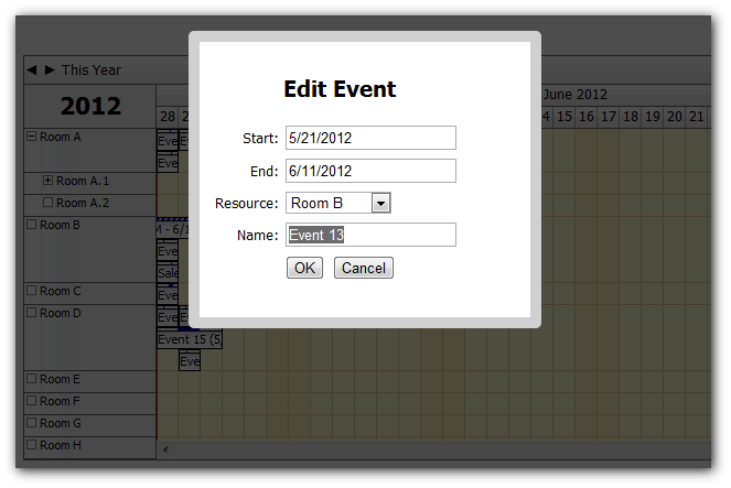 How to show event details in a modal dialog for Window javascript